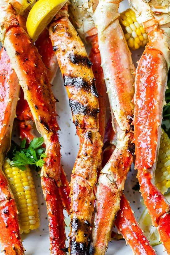 Grilled Crab Legs with corn