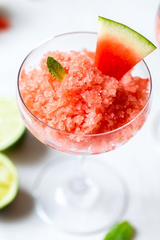 This Boozy Watermelon Lime Granita is the perfect, frozen adult treat for hot summer days.