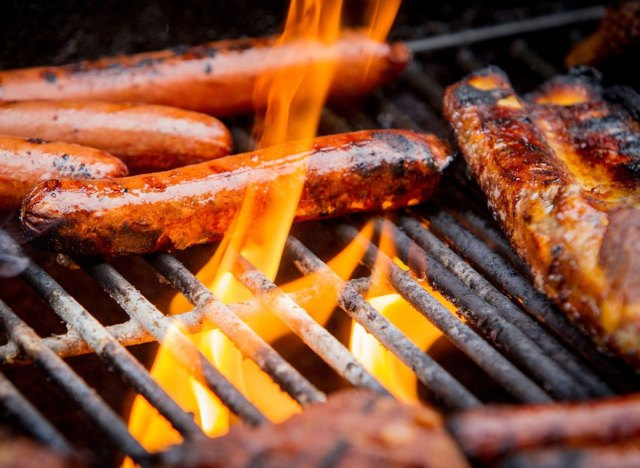 Grilled sausage and hot dogs