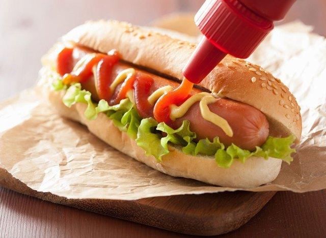 Hot dog bun ketchup