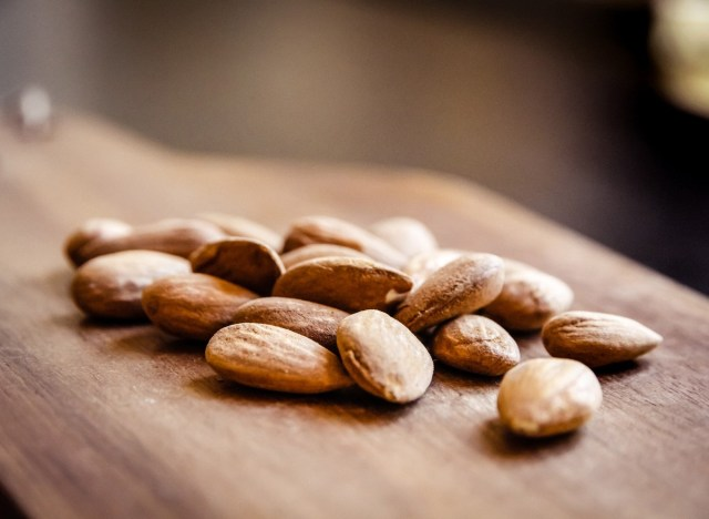 whole almonds cutting board