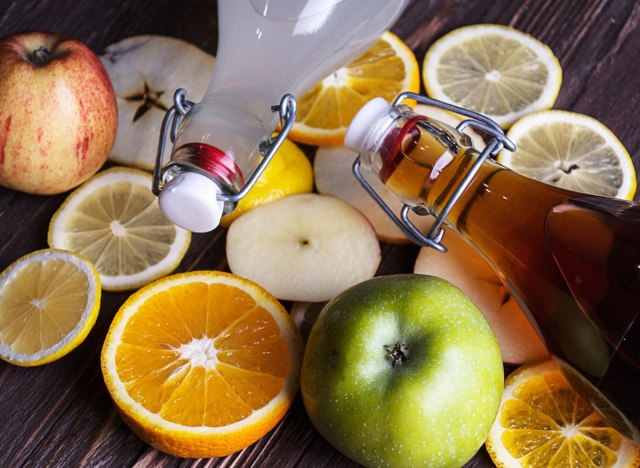kombucha bottle and fruit