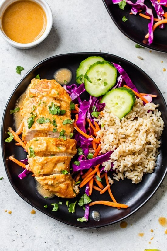 Peanut-Braised Chicken Breasts over rice